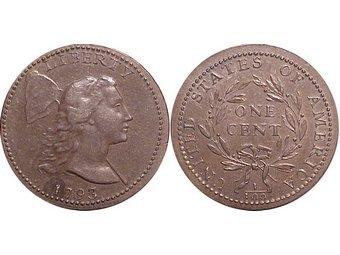 Первый американский цент. Иллюстрация с сайта coinfacts.com